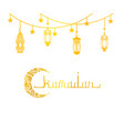 ramadan mubarak and kareem greeting card golden vector image