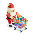 santa claus isometric 3d shopping cart purchase vector image vector image
