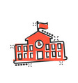 school building icon in comic style college vector image vector image