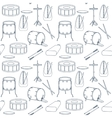 Seamless line pattern with drums Flat design vector image vector image