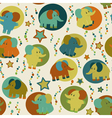 Seamless pattern with cartoon funny elephants vector image