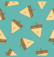 seamless pattern with tasty club sandwiches vector image vector image