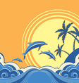 Seascape poster with dolphins vector image vector image