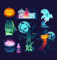 set colorful halloween with ghost terrific vector image