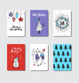 set of cute doodle greeting cards christmas and vector image