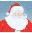 Smiling Santa Claus pointing at you snowflakes in vector image vector image