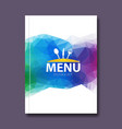 Trendy triangular restaurant menu design cover vector image vector image