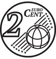 two euro cent coin vector image vector image