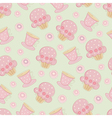 Vintage seamless pattern with cakes and cups vector image vector image