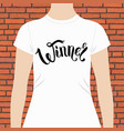 winner text in ribbon style on tee shirt vector image