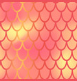yellow red mermaid scale seamless pattern vector image vector image