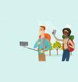 young multiracial travelers making selfie vector image