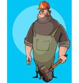 cartoon burly male worker in a helmet vector image