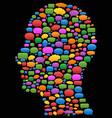 speech bubbles in head profile vector image