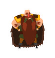 barbarian viking character in animal skin cape vector image