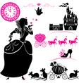 Fairytale Set - silhouettes of Cinderella vector image