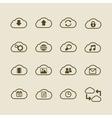 Generic cloud computing iconset contour flat vector image