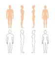 Male and female human silhouettes vector image