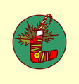 sock decoration icon merry christmas and happy new vector image