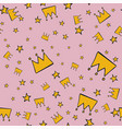 abstract pattern seamless yellow stars and crown vector image vector image