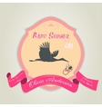 Baby shower invitation with flat stork flying with vector image vector image