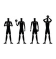 basketball players silhouettes vector image vector image