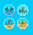 beach vacation bold line sticker label vector image