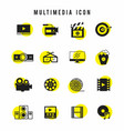 black and yellow multimedia icon set vector image