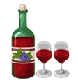 Bottle of red wine and two filled glasses vector image vector image