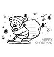 cartoon polar bear in a santa claus hat christmas vector image vector image
