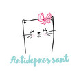 cat antidepressant lettering hand drawn vector image