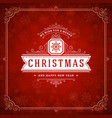 christmas and new year retro typography label vector image