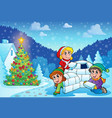 christmas outdoor theme 3 vector image vector image