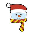 christmas snowman kawaii character vector image vector image