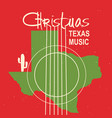 christmas texas music poster vintage card with vector image vector image