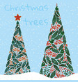 christmas trees with snow xmas background vector image vector image