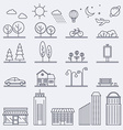 city in linear style Icons and vector image vector image