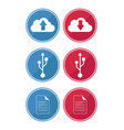 data and cloud icons vector image vector image