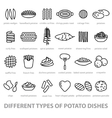 different types of potato dishes vector image