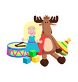 doll and reindeer christmas toys vector image vector image