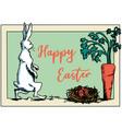 easter rabbit walking to get carrot vector image vector image
