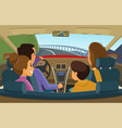family in car mother father and kids travelling vector image vector image