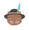 funny face or head cat wearing tyrolean vector image vector image