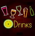 glass drinks set on neon sign on brick wall vector image