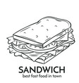 hand drawn sandwich icon vector image vector image