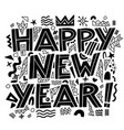 happy new year banner in memphis style hand vector image