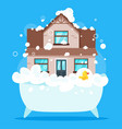 house in bath tub vector image vector image