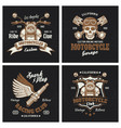 motorcycle colored emblems or prints on dark vector image