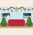 night christmas party room decorated background vector image vector image