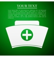 Nurse hat flat icon on green background Adobe vector image